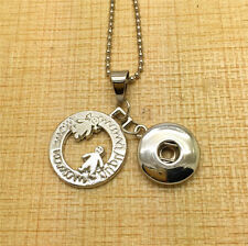 Fit Noosa Snap Chunk Button Grandmother/Mother/ Child Alloy Pendant Necklace for