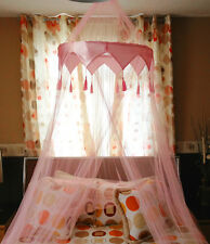 Beautiful Pink Mosquito Fly Canopy Net Netting For Single Double King Size Bed