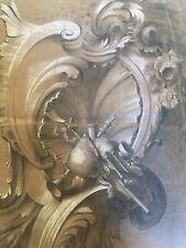 Très beau Dessin Lavis 1860 ornement feuille très fin