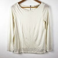 Banana Republic Pullover Off White Striped Shirt Blouse Top Womens Small Scoop