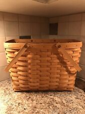 1997 Longaberger Classic Magazine Basket with Swinging Handles and Protector