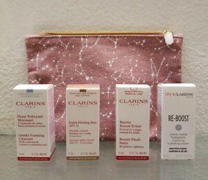 4 Clarins Xtra Firming SPF, Cleanser, Beauty Flash Balm, & Re- Boost Travel NIB