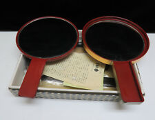 Vintage Japanese Lacquer Ware Double Vanity Mirror