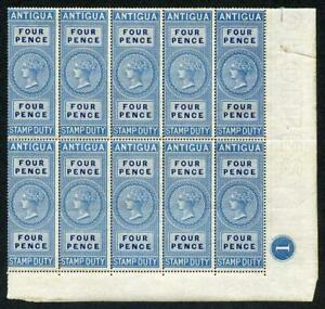 Antigua 1870 4d Stamp Duty Plate Block of 10 U/M (some very light ageing)