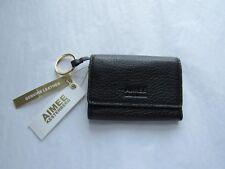 AIMEE KESTENBERG Black Leather Madrid French Key Ring Wallet  NWT $58