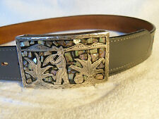 Authentic RMG 925 sterling buckle grey western leather belt - 32- (mens) USA