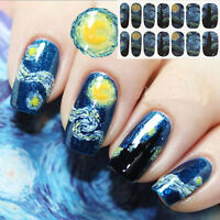 1 Sheet Nail Wraps Mysterious Starry Sky Night Patterned Full Nail Sticker~