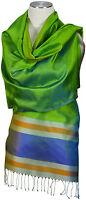 Seidenschal grün blau Streifen 100% Seide, silk ècharpe foulard soie scarf stole