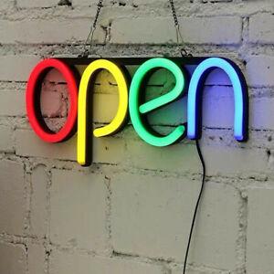 LED Open Shop Sign Neon Display Sign Window Hanging Light Large Top Flashing UK