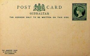 GIBRALTAR HALF PENNY QUEEN VICTORIA UNUSED POSTAL STATIONERY CARD
