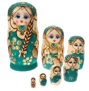 7Pcs/Set Babushka Russian Nesting Dolls Matryoshka Stacking Wooden Toy Gift AU