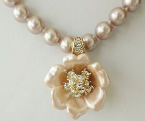NOLAN MILLER SIM PEARLS W/ REMOVEABLE FLOWER CRYSTAL PENDANT NECKLACE