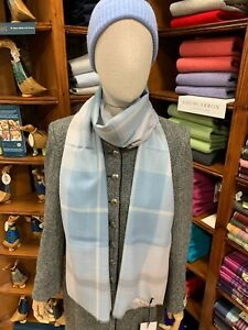 100% Pure New Wool Pashmina | Lochcarron | Made in Scotland | Blue Check