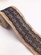 2m Jute Hessian Burlap Lace Ribbon Vintage Wedding Rustic width 6cm blue