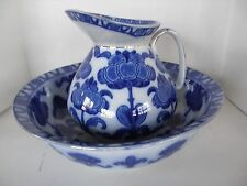 ANTIQUE RIDGWAYS ENGLAND #6  WASH BASIN & PITCHER FLORAL PATTERN COBALT BLUE
