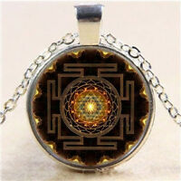 Sri Yantra Photo Cabochon Glass Pendant Tibet Silver Chain Necklace Jewelry Gift