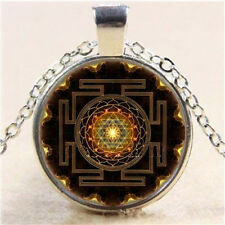 Sri Yantra Photo Cabochon Glass Pendant Tibet Silver Chain Necklace Jewelry Gift