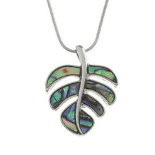 Blue Green Abalone Paua Shell Pretty Leaf Pendant Silver Chain Necklace