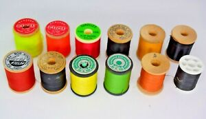 12 Spools Fly Tying Thread by Gantron, Gudebrod, Rice's, Danville's & Unbranded