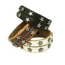 Ein lässiges Armband mit Nieten Leder schwarz weiss braun Sterne