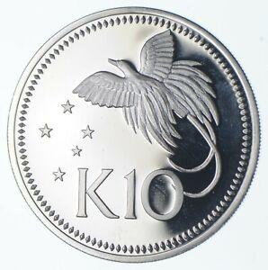 SILVER - HUGE - 1975 Papua New Guinea 10 Kina - World Silver Coin *051