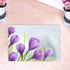Kitchen Bath Bathroom Shower Floor Home Door Mat Rug Non-Slip Purple flowers