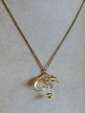 Hallmark cards Silver tone metal chain Clear glass Mushroom pendant necklace 20""