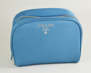 PRADA L'HOMME cosmetic make up bag pouch large size blue color