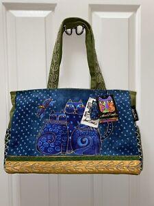 Laurel Burch Feline Cat Large Canvas Scoop Purse Tote Bag Handbag BRAND NEW
