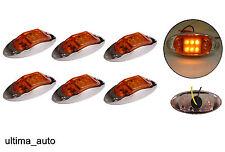 6 x 12V 6 LED AMBRA ARANCIO LATO CROMO LUCI DI INGOMBRO Lampada per rimorchio