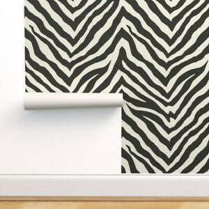 Removable Water-Activated Wallpaper Zebra Black And White Hide Large Scale
