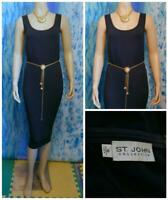 ST. JOHN Collection Santana Knit Navy Blue Dress L 10 12 Sleeveless Sheath