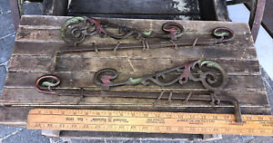"""18"""" ANTIQUE CAST IRON OUTDOOR HANGING LAMP BRACKET OR Swing Arm Curtain Rods"""