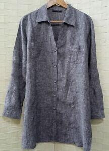 DUCHAMP 100% Linen Grey Marle Blouse/Top Sz16-18 Collared/Long Sleeves *FREEPOST