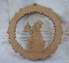 Snowman  Christmas Bauble Tree Decoration MDF Craft Blank Varied QTY