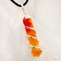 CARNELIAN Chakra Crystal Point Silver Wire Wrap Pendant Necklace HANDMADE Heal R