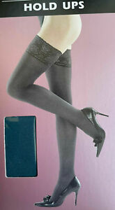 Women Silky 40 Denier Lace Top Hold Ups Teal One Size