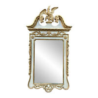 Vintage Italian Rococo Giltwood Gold Carved Eagle Motif Wall Mirror 3x5