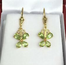 14k Solid Yellow Gold Leverback Butter Fly Dangle Earrings, Natural Peridot