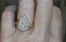 14k Yellow Gold Diamond Ballerina Cocktail Cluster BIG Pear Shape Ring ESTATE
