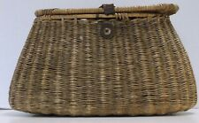 VINTAGE 1940s FLY FISHING WILLOW WICKER FISHING CREEL BASKET, DECOR WALL HANGING