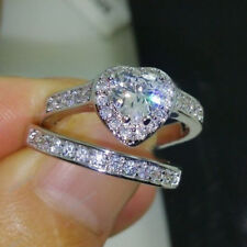 3.45 Cttw Heart Cut Engagement Ring Set Wedding Band 10k Real White Gold