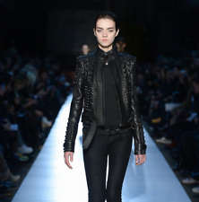 New Woman Balmain Black Metal Studded Punk Cowhide Leather Jacket