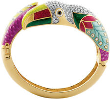 Gold Plated Toucan Bangle With Swarovski Crystals And Enamel