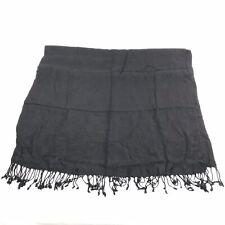 Shloka Cashmina Womens Viscose Black Fringe Scarf Wide Classic Handmade in India
