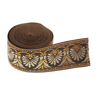 5.5 Continuous Yards - Jacquard Woven Floral Ribbon Trim - 1.4 Inch Wide