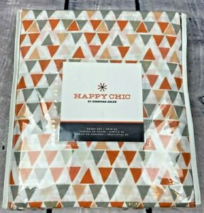 Happy Chic Jonathan Adler Sheet Set Twin XL Orange White Gray Geometric (H30)