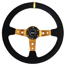 "Steering Wheel 350mm Black Suede 3"" Dished With OMP MOMO Mounting SVi-4152BSUG"