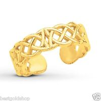 Adjustable Celtic Weave Design Toe Ring Real Solid 14K Yellow Gold