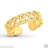 Adjustable Celtic Weave Design Toe Ring 14K Yellow Gold